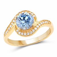 Gold Plated Fashion Statement Blue Solitaire Cubic Zirconia