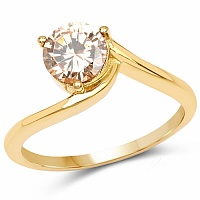 Designer Gold Plated Studded Champagne Cubic Zirconia Stone