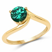 Designer Gold Plated Studded Green Cubic Zirconia Stone Ring