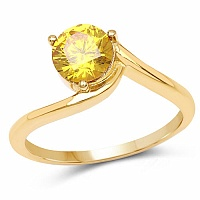 Designer Gold Plated Studded Yellow Cubic Zirconia Stone Rin