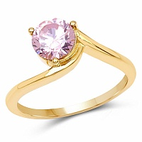 Designer Gold Plated Studded Pink Cubic Zirconia Stone Ring