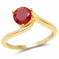 Designer Gold Plated Studded Orange Cubic Zirconia Stone Rin