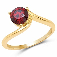 Designer Gold Plated Studded Red Cubic Zirconia Stone Ring