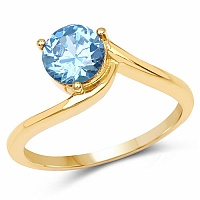 Designer Gold Plated Studded Blue Cubic Zirconia Stone Ring