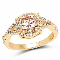 Gold Plated Designer Champagne Solitaire Cubic Zirconia Ring