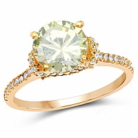 Gold Plated Designer Lemon Green Solitaire Cubic Zirconia Ri