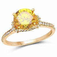 Gold Plated Designer Yellow Solitaire Cubic Zirconia Ring Fo