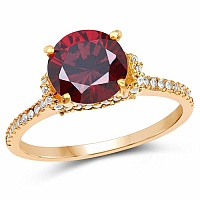 Gold Plated Designer Red Solitaire Cubic Zirconia Ring For W