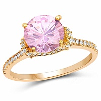 Gold Plated Designer Pink Solitaire Cubic Zirconia Ring For