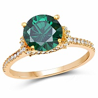 Gold Plated Designer Green Solitaire Cubic Zirconia Ring For