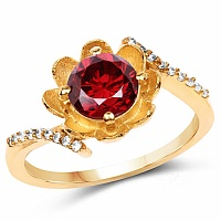 Gold Plated Designer Orange Solitaire Cubic Zirconia Ring Fo