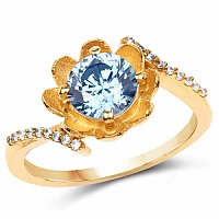 Gold Plated Designer Blue Solitaire Cubic Zirconia Ring For