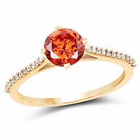 Gold Plated Contemporary Orange Solitaire Cubic Zirconia Rin