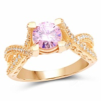 Gold Plated Fashion Statement Pink Solitaire Cubic Zirconia