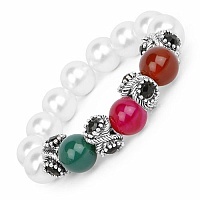 Fashion Contemporary Pearl Adorned Multicolor Stretch Bracel
