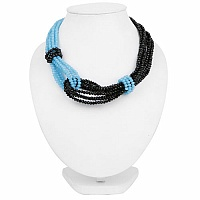 Fashion Contemporary Blue & Black Beaded Choker Necklace For