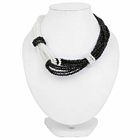 Fashion Contemporary Black & White Beaded Choker Necklace Fo