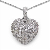 1.26CTW Genuine Diamond 18K White Gold Pendant