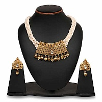 Johareez Polki & White Synthetic Pearl Gold Plated Brass Neckla