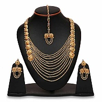 Johareez Multistone Gold Plated Brass Necklace Set