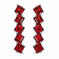 9.80CTW Genuine Garnet .925 Sterling Silver Earrings