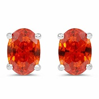 Oval Shape Orange Cubic Zirconia .925 Sterling Silver Stud E