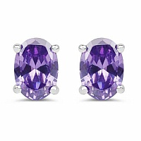 Oval Shape Purple Cubic Zirconia .925 Sterling Silver Stud E