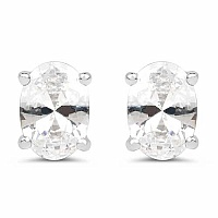 Oval Shape White Cubic Zirconia .925 Sterling Silver Stud Ea