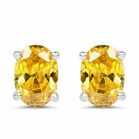 Oval Shape Yellow Cubic Zirconia .925 Sterling Silver Stud E