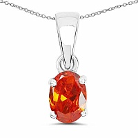 Oval Shape Orange Cubic Zirconia .925 Sterling Silver Solita