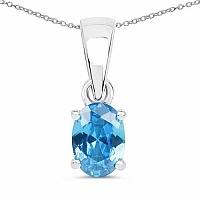 Oval Shape Blue Cubic Zirconia .925 Sterling Silver Solitair