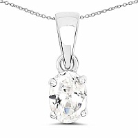 Oval Shape White Cubic Zirconia .925 Sterling Silver Solitai