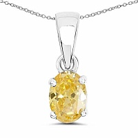 Oval Shape Yellow Cubic Zirconia .925 Sterling Silver Solita