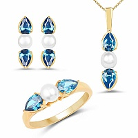 Pearl & Blue Cubic Zirconia Gold Plated Brass Pendant Set