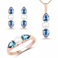 Pearl & Blue Cubic Zirconia Rose Gold Plated Brass Pendant S