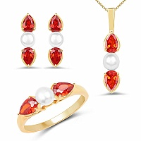 Pearl & Orange Cubic Zirconia Gold Plated Brass Pendant Set