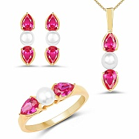 Pearl & Pink Cubic Zirconia Gold Plated Brass Pendant Set