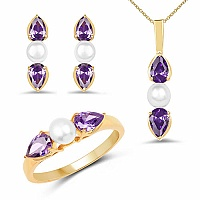 Pearl & Purple Cubic Zirconia Gold Plated Brass Pendant Set