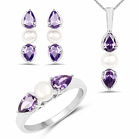 Pearl & Purple Cubic Zirconia Rhodium Plated Brass Pendant S