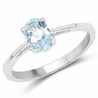 Oval Shape Blue Topaz .925 Sterling Silver Solitaire Ring