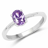 Oval Shape Purple Cubic Zirconia .925 Sterling Silver Solita