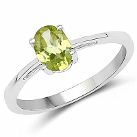 Oval Shape Peridot .925 Sterling Silver Solitaire Ring