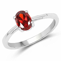Oval Shape Red Cubic Zirconia .925 Sterling Silver Solitaire
