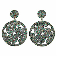 4.79CTW Multisapphire Black Rhodium Plated Silver & Gold Earrin