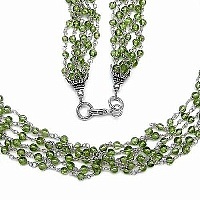 30.00 Grams Peridot Metal Bunch Necklace with Silver Caps