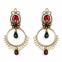 28.28 Grams Multistone Gold Plated Brass Maroon Enamel Earrings