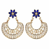 32.83 Grams Blue Glass & White Cubic Zirconia Gold Plated Brass