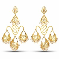 Designer Gold Plated Temple Chandelier Earrings For Women