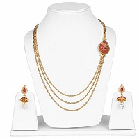 Gold Plated Multi Strand Traditional Ranihaar Style Pink Sto