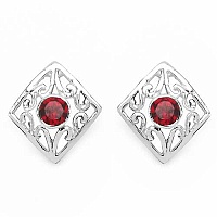 0.24CTW Genuine Garnet .925 Sterling Silver Earrings